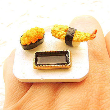 Sushi Ring Shrimp Sea Urchin  Miniature Food Jewelry