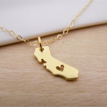 Tiny Outline California State Map With Heart Necklace USA CA State Necklace I heart love California necklaces