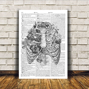 Rib cage poster Macabre art Dictionary print Modern decor RTA8