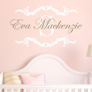 Name Wall Decal With Shabby Chic Floral Border Baby Name And Initial For Girl Baby Nursery Or Teen Girls Room Vinyl Wall Art 22H x 36W GN050