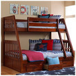 Merlot Twin over Full Bunk Bed with 3 Storage Drawers