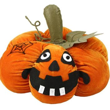 "15"" LED Lighted Plush Orange Jack-o-Lantern Pumpkin Halloween Decoration"