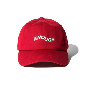 ENOUGH Red Baseball cotton cap Hat