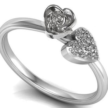 Silver Love Ring Flower Ring Promise Ring Unique Engagement Ring with Side  Diamonds Floral ring Birthday e9d728fc18