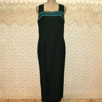 Sleeveless Black Maxi Dress Petite Large XL Embroidered Linen Rayon Long Summer Dress Size 16 Plaza South Plus Size Clothing Womens Clothing