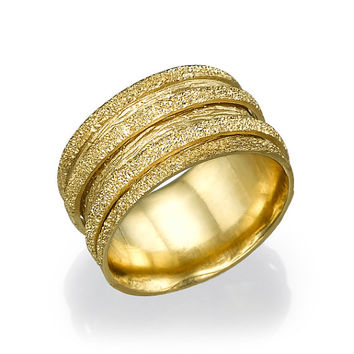 Glitter Wedding Ring Yellow Gold, Wedding Ring For Woman, Gold Ring, Art Deco Wedding band, Gold Ring, texture ring