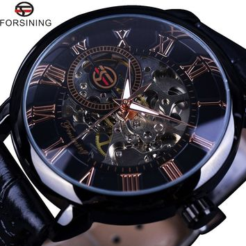 Forsining 2015 Black Bezel Red Roman Display Hollow Engraving Watch Men Top Brand Luxury Mechanical Watch Clock Men Montre Homme