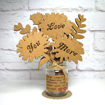 LOVE YOU MORE - Corrugated Cardboard Flowers Bouquet In Mini Mason Jar Great Gift Idea