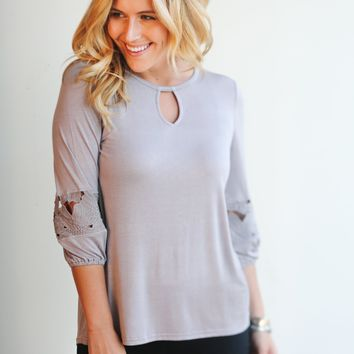 Eyelet-Sleeve Tunic Top