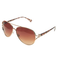 Animal-Print Aviator Sunglasses | Wet Seal