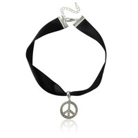 Choker Necklace Black Satin Ribbon and Silver Peace Sign Adjustable Punk Goth