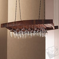 Vintage Oak Hanging Wine Glass Rack - Wine Enthusiast