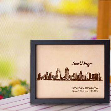 Lik318 Leather Engraved Wedding Third Anniversary san diego Longitude Latitude personalized gift place wedding date wedding names