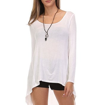 Long Sleeve Hi-Low Knit Tunic Top