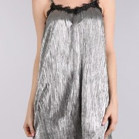 Finley Metallic Slip Dress (Silver)