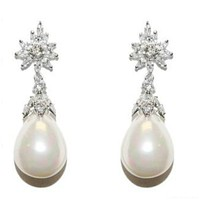 Evelyn White Pearl Drop Marquise Cluster Earrings | 2ct | Cubic Zircona | Silver
