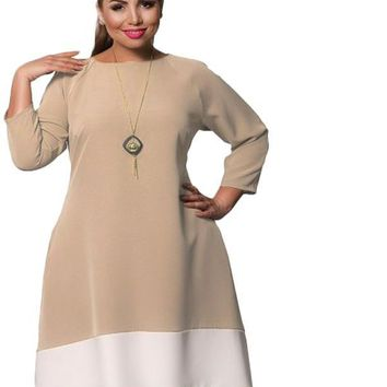 colorblock mixi hilo plus size Dress women clothing navy blue pink khaki beige white