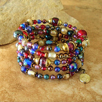 Boho Bracelet, Festive Jewel Tone Layered Bracelet, Boho Chic, Bohemian Beaded Bracelet, St. Anthony
