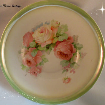 Antique Transferware German Porcelain Pink Cabbage Roses Serving Bowl Celebrate