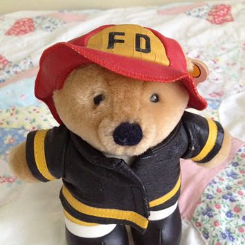 Fireman Bear Doll - Vintage Firefighter Bear Vintage Toys