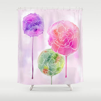 Succulent and Roses Shower Curtain by Janet Broxon
