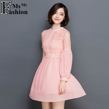 Spring Women's Long Sleeved Lantern Sleeve Lace Chiffon Dress Femme Cute Retro Clothing Women Slim Sexy Party Dresses