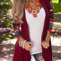 Bungundy Print Sleeve Asymmetrical Cardigan