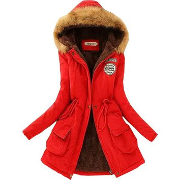 Winter Jacket Women winter jackets and coats big fur collar warm 2016 new slim casual long coat with hat vestidos BD020