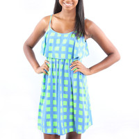 SALE-Truth or Square Dress- Blue/Green