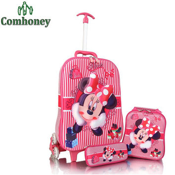 Kids Minnie Mouse Suitcase Rolling Luggage+School Backpack Set 3 PCS Children School Bag Carton Pencil Case Girls Travel Bag