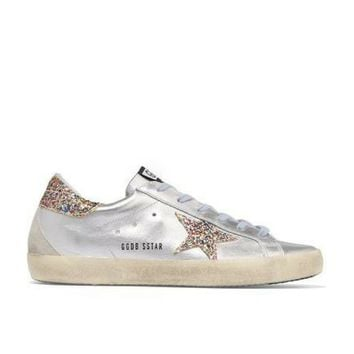 Golden Goose Deluxe Brand Super Star Glitter Metallic Leather Sneakers