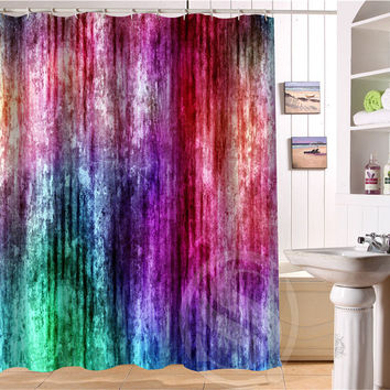 COLORED FLUORESCENT PATTERN WATERPROOF SHOWER CURTAIN