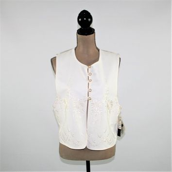 90s Vintage White Vest Women Large Embroidered Waistcoat Size 14 Vest Antthony Mark Hankins Deadstock NWT Vintage Clothing Womens Clothing