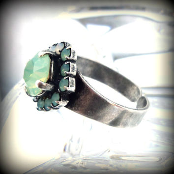 Swarovski crystal ring in green and white opal, better than sabika, GREAT PRICE