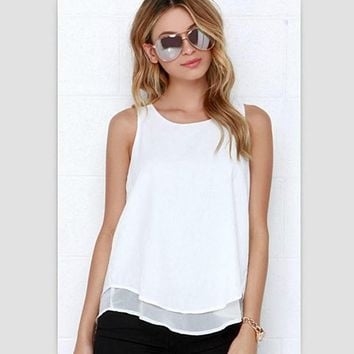 Lossky Individual Tee Shirt Femme Summer Style Women Tops Sleeveless Double Layer Ropa Mujer Loose blusas White Blouse