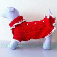 Big Dog Dress.Sweater For Big Dog.Handmade Knit Pet Clothes.Knit Red Dress For Large Dog. Pet Clothes.Size XXL