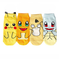 Cartoon Anime Pikachu Women Short Cute Sock Art Socks Harajuku Pokemon Women Lady Girl Summer Cotton Kiss Sock Ankle Meias Sox