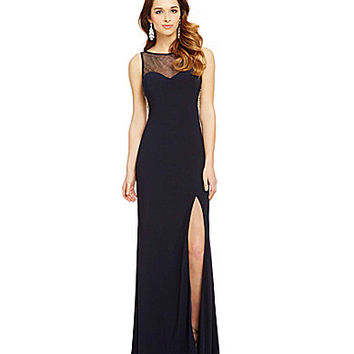 Blondie Nites Illusion Draped Pearl-Back Gown | Dillards.com