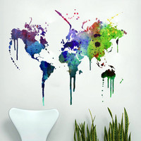 Wall World Map - Watercolor Decal Sticker