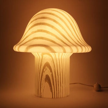 Vintage German Large Peill and Putzler White Opal Glass Mushroom Table Lamp - 1970s