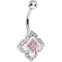 Lovely Pink Accent Crystalline Floral Belly Ring | Body Candy Body Jewelry