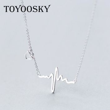 925 Sterling Silver Ecg Shape Heartbeat Necklaces & Pendants For Women Romantic Gifts For Girls Sterling-silver-jewelry