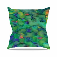 "Miranda Mol ""Dreamy Clouds"" Green Teal Abstract Fantasy Watercolor Painting Outdoor Throw Pillow"