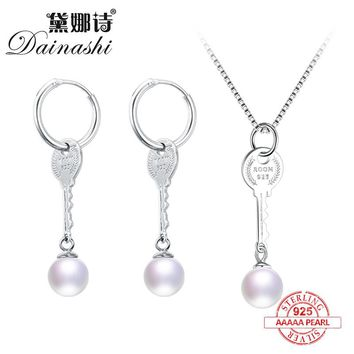 Dainashi 925 sterling silver pearl sets with pearl drop earrings and pendants fine jewelry for girlfriend gifts symbol of love