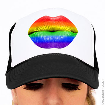 Gay Pride Rainbow Lips Kiss Flag Hat - Black Trucker Hat - Snapback Hat