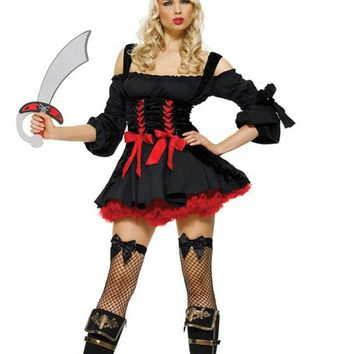 Atomic Black and Red Pirate Wench Costume