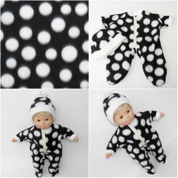 BITTY BABY BOY Clothes,ag doll clothes, Handmade for the 15 inch bitty baby, black polka dot pajamas and hat