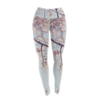 "Catherine McDonald ""Walk with Me"" Cherry Blossom Yoga Leggings"