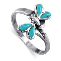Gem Avenue Sterling Silver Teardrop Reconstituted Turquoise Dragonfly Ring