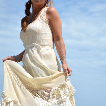 Lace Wedding Maxi dress, Bohemian Wedding dresses, RESERVED boho, altered couture, fairy gown, Bridal, shabby blush, true rebel clothing M
